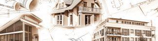 Neubauten und Baupläne als Symbol für die Baubranche oder Immobilienbranche.